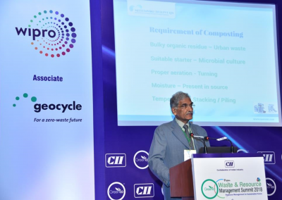 Mr. CRVi Joseph of Metsi Enviro addressing CII Waste & Resource Management Summit 2018, New Delhi on Claire Fontaine Organic Waste Transformer