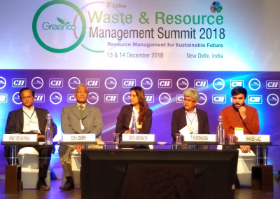 Mr. CRVi Joseph of Metsi Enviro with the speakers at CII Waste & Resource Management Summit 2018, New Delhi on December 2018